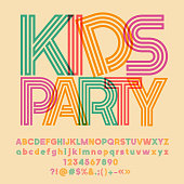 Bright vector symbol with text Kids Party