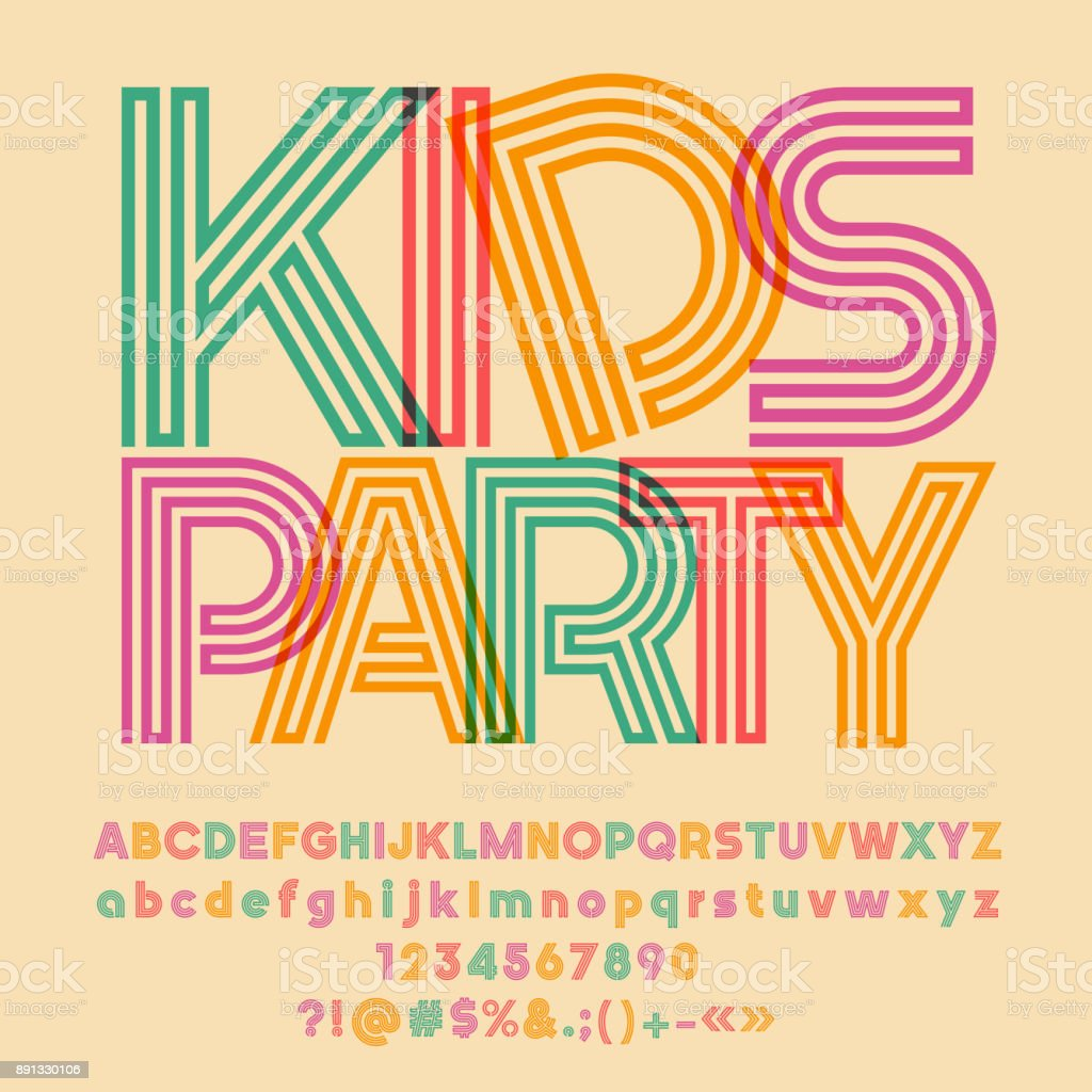Bright vector symbol with text Kids Party vector art illustration