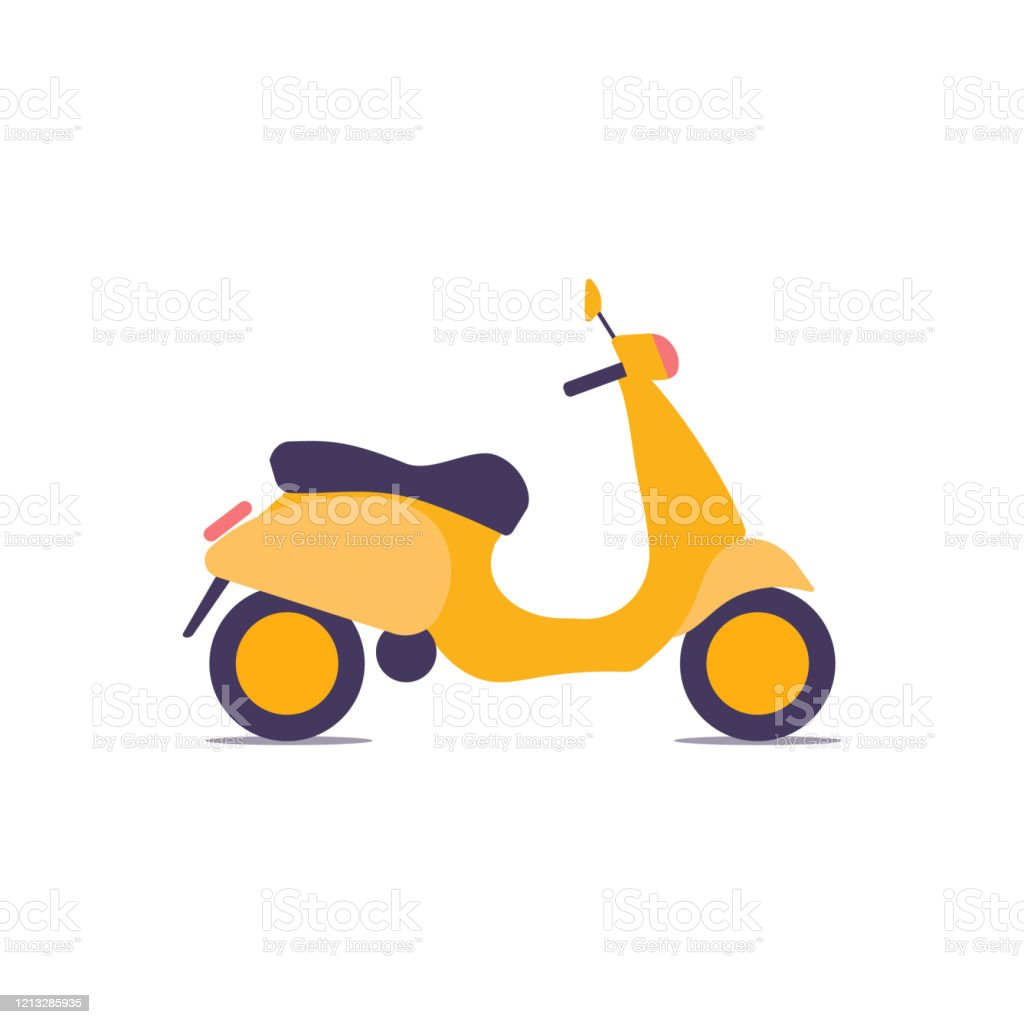 Bright Vintage Scooter Vector Illustration Urban Life Ride A Motorbike In The City For Delivery Stock Illustration Download Image Now Istock
