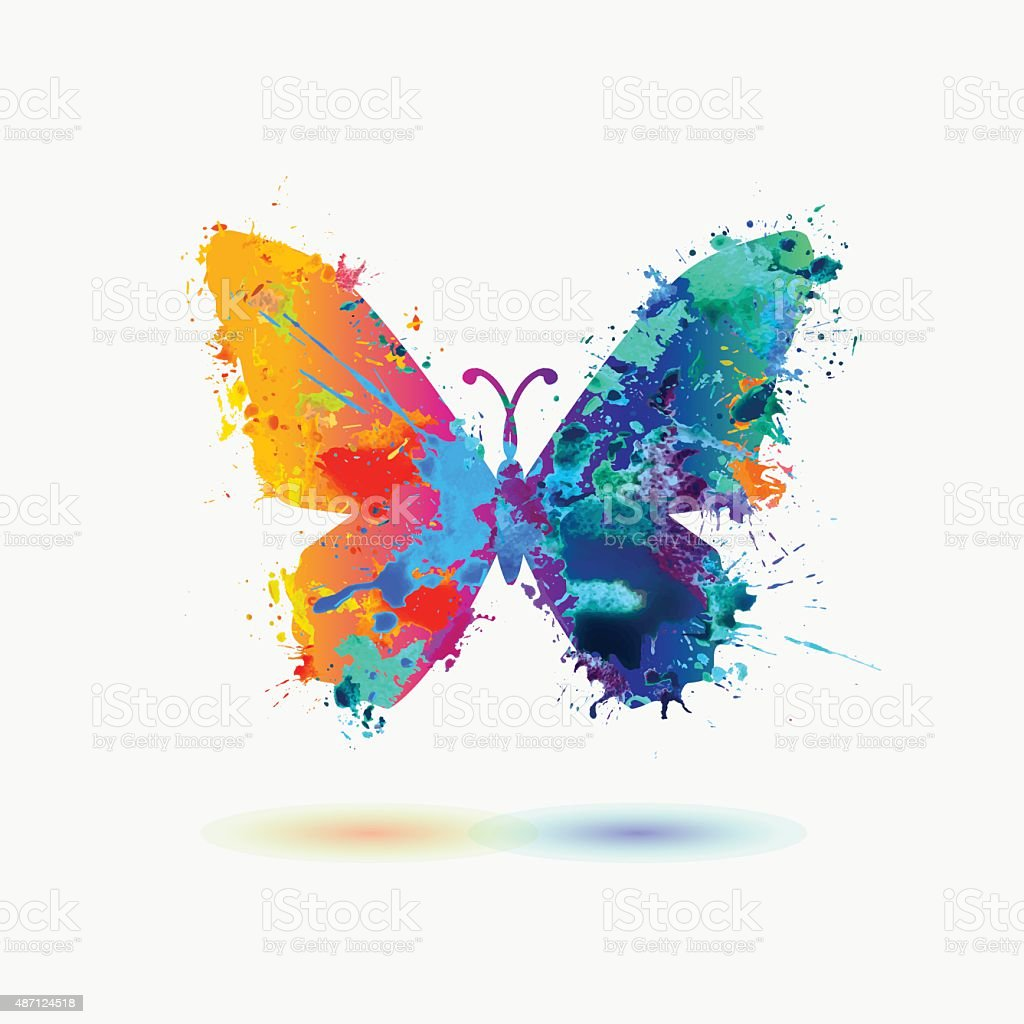 Bright watercolor butterfly icon vector art illustration