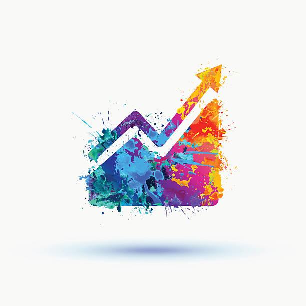 illustrations, cliparts, dessins animés et icônes de infographie aquarelle éclatant. icône de graphique de croissance des ventes - tableaux et graphiques