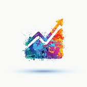 Bright  watercolor Infographic. Growing sales chart icon