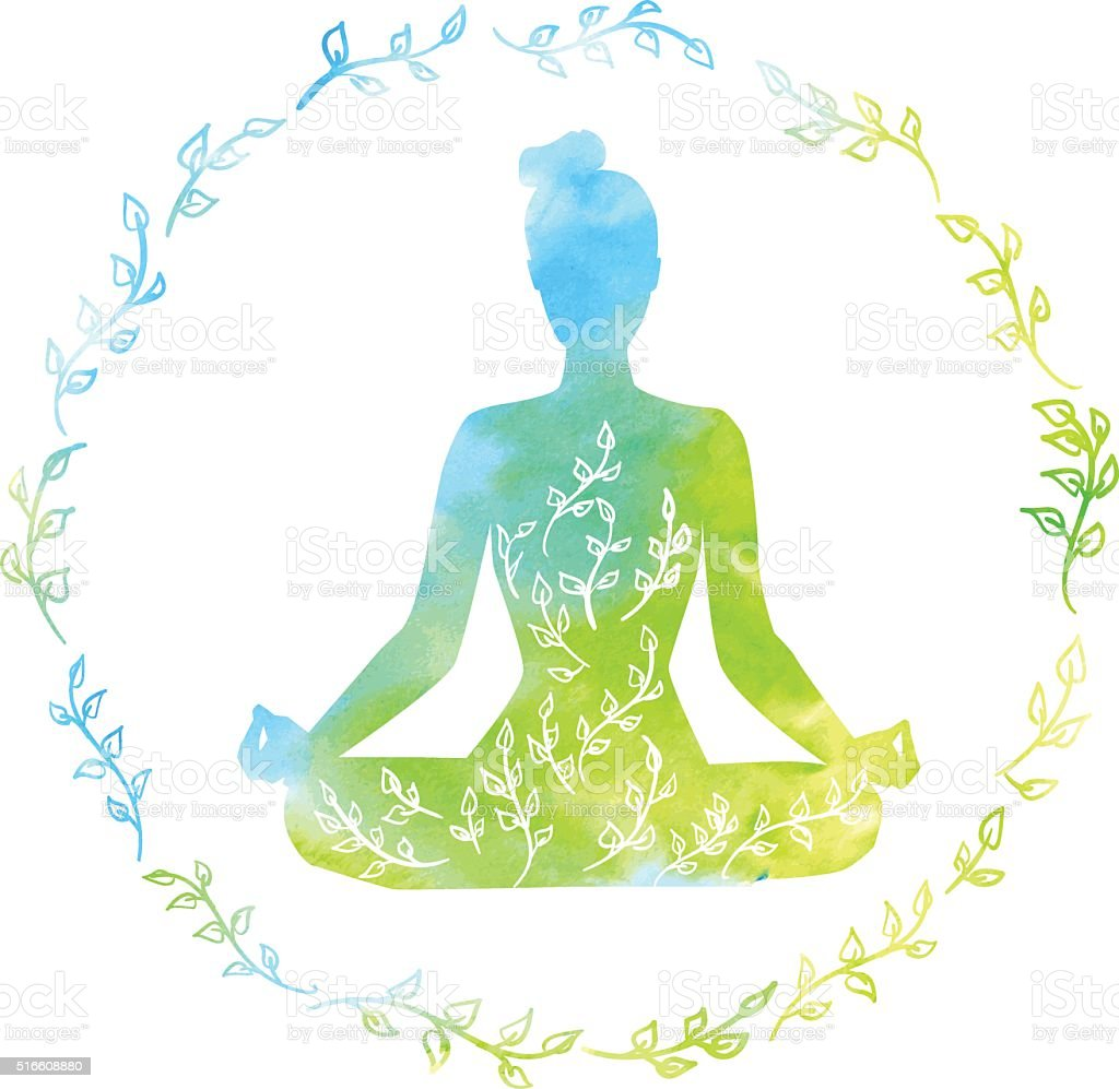 Bright watercolor yoga illustration with a woman in lotus pose vector art illustration