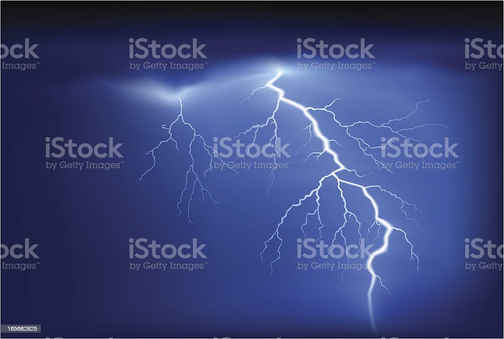 Bright white lightning strike on blue sky vector art illustration