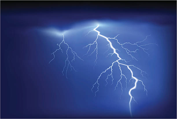 Bright white lightning strike on blue sky Lightning or thunder at night sky thunderstorm stock illustrations