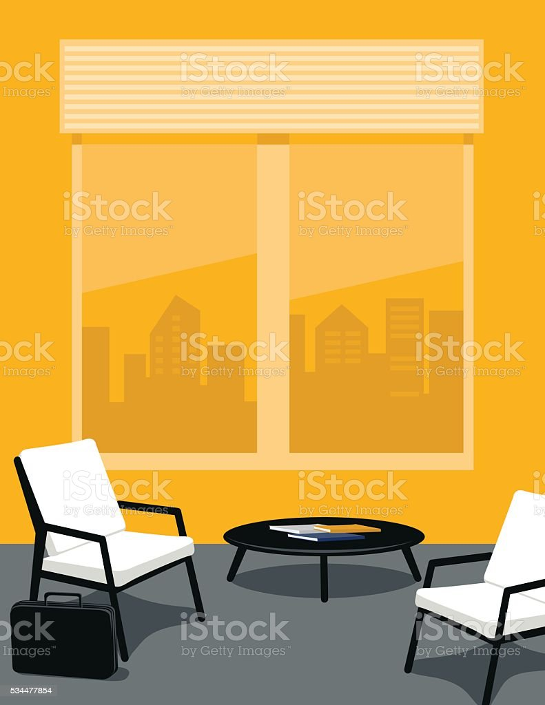 Bright Yellow And Grey Office Or Waiting Room Stock Vector Art ...