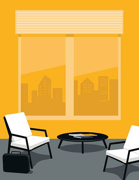 jasny żółty i szary biuro lub poczekalni - store stock illustrations