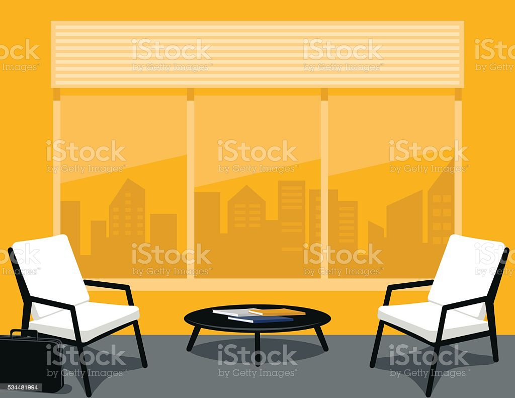 Bright yellow and Grey Office or waiting Room vector art illustration
