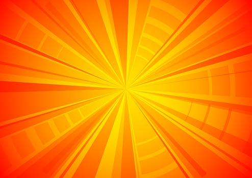 Orange exploding star textured surface background vector illustration