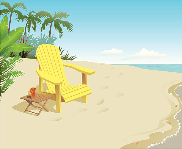 A bright yellow chair with a drink on the beach An Adirondack style chair for relaxing sits on a sunny tropical beach, palms in the background.  adirondack chair stock illustrations