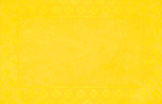 Bright yellow coloured grunge Backgrounds with a border of floral pattern made of small hearts all around the horizontal frame