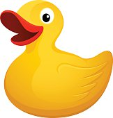 Bright yellow rubber duck with red lips