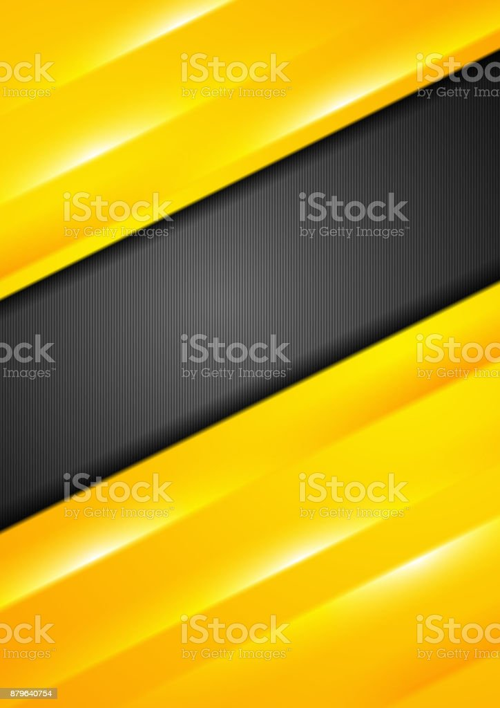 Bright yellow stripes abstract flyer design vector art illustration
