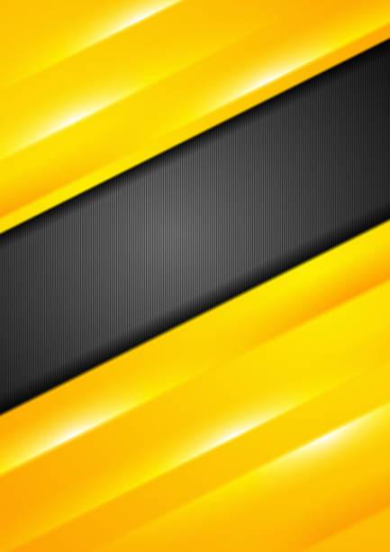 Bright yellow stripes abstract flyer design vector art illustration