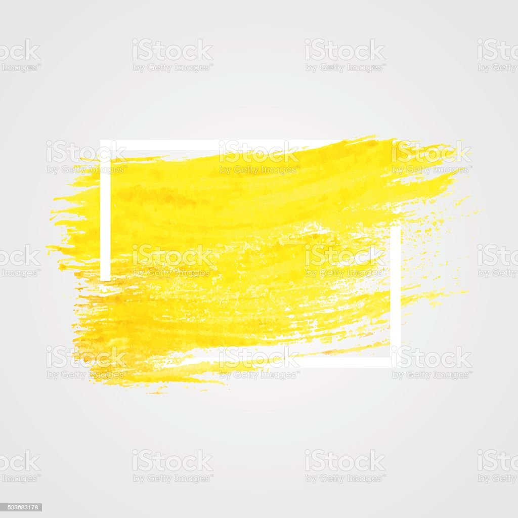 Bright yellow vector brush stroke in frame vector art illustration