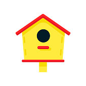 Bright yellow wooden birdhouse with a red roof, isolated on a white background. Spring vector illustration in a flat style for postcards, posters, banners, advertising. Cartoon style