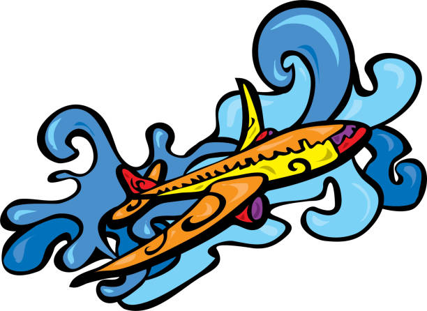 Brightly colored airplane flying over clouds vector art illustration