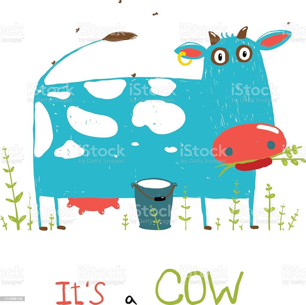 Vivaci Di Mucca E Latte Di Divertimento Per I Bambini