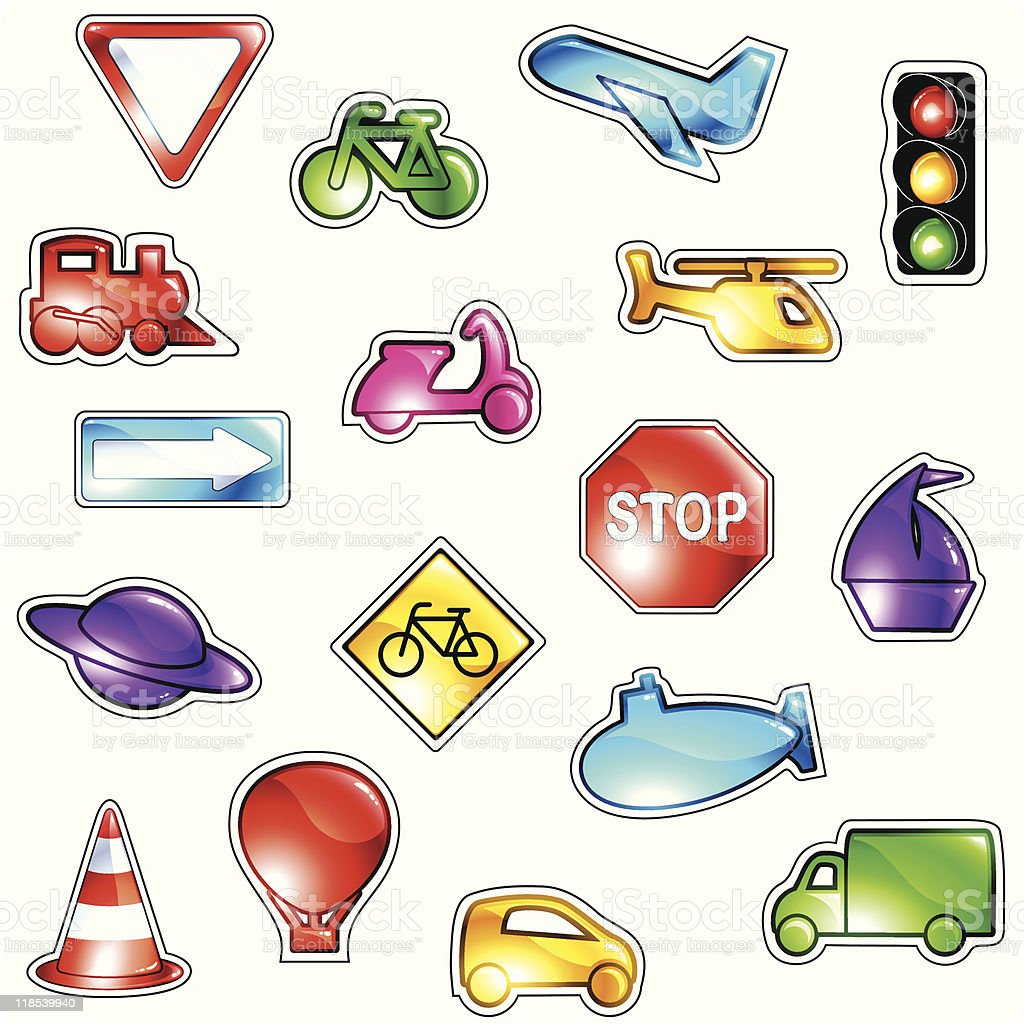 Brightly colored traffic icons royalty-free stock vector art