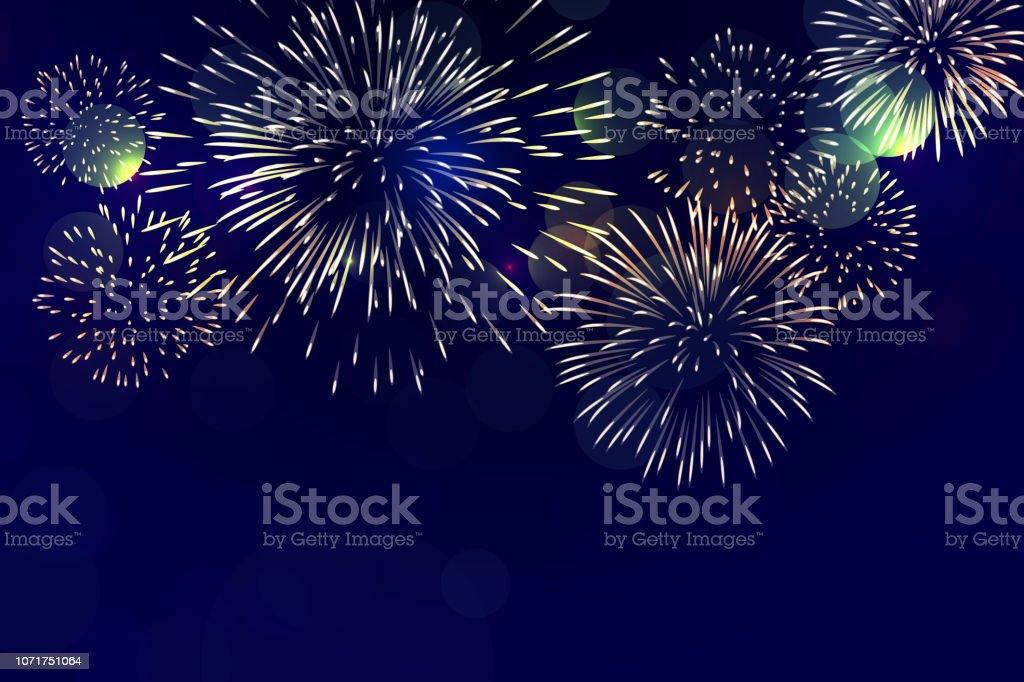 Brightly Colorful Fireworks on twilight background - Grafika wektorowa royalty-free (Białe tło)