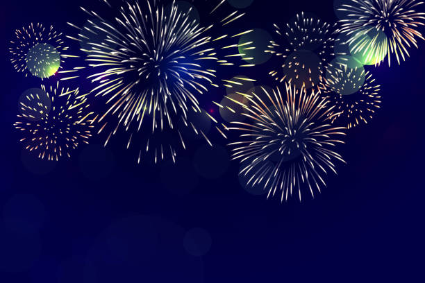 Brightly Colorful Fireworks on twilight background clipping mask firework display stock illustrations