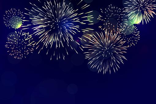 Brightly Colorful Fireworks On Twilight Background - Stockowe grafiki wektorowe i więcej obrazów Białe tło