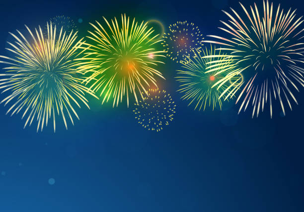brightly colorful fireworks on twilight background - happy 4th of july stock illustrations