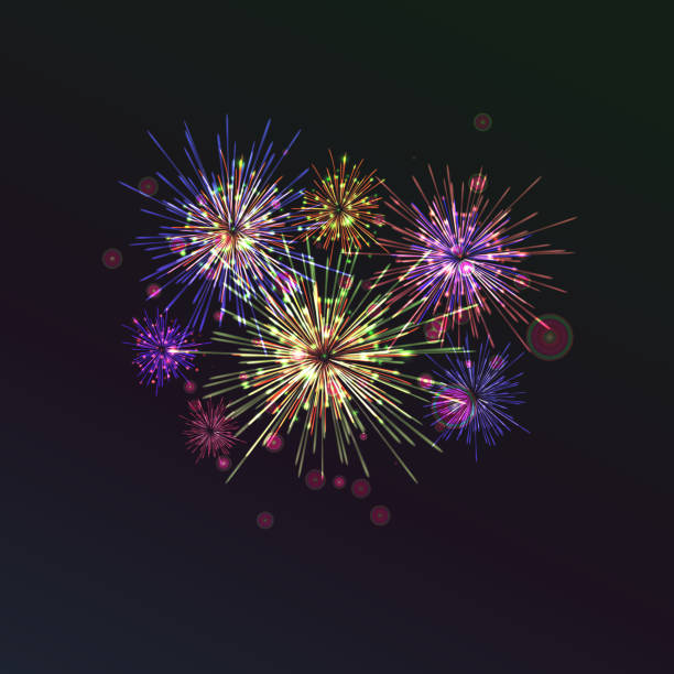 brightly colorful fireworks on twilight background - four seasons stock illustrations