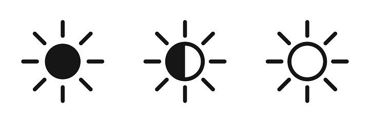 Brightness contrast icon set. Vector bright intensity symbols on white background.