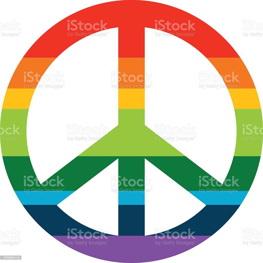 Brightness Rainbow peace symbol vector art illustration