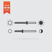Brightness slider icon in flat style isolated on grey background.