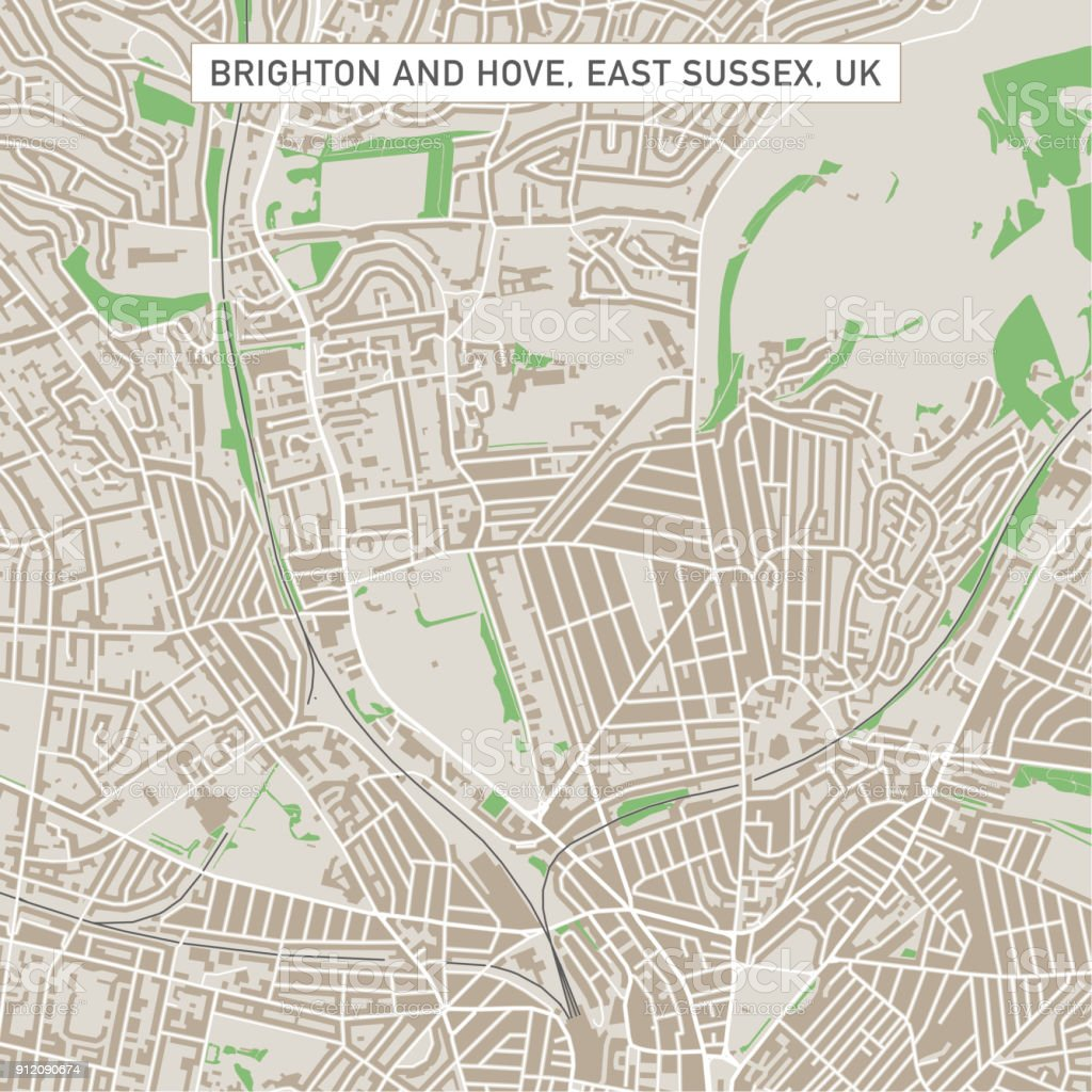 Brighton And Hove East Sussex UK City Street Map vector art illustration