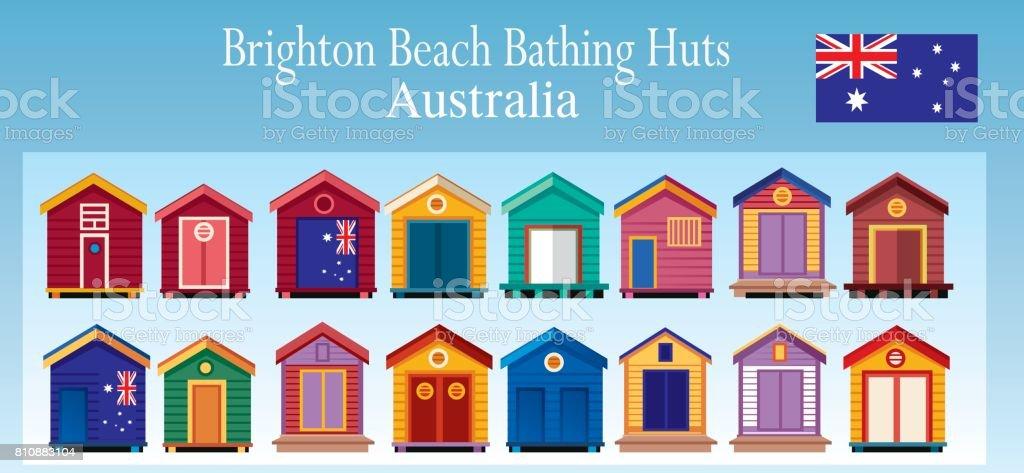 Brighton Beach Huts vector art illustration