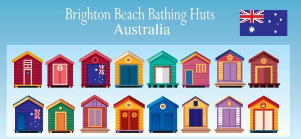 brighton beach huts - melbourne stock illustrations