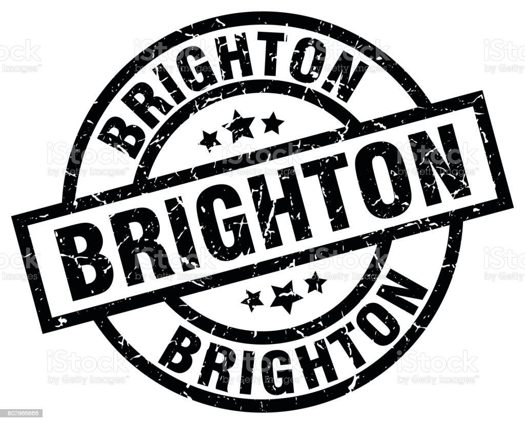 Brighton black round grunge stamp vector art illustration