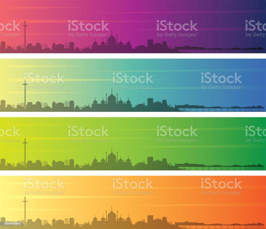 Brighton Multiple Color Gradient Skyline Banner vector art illustration