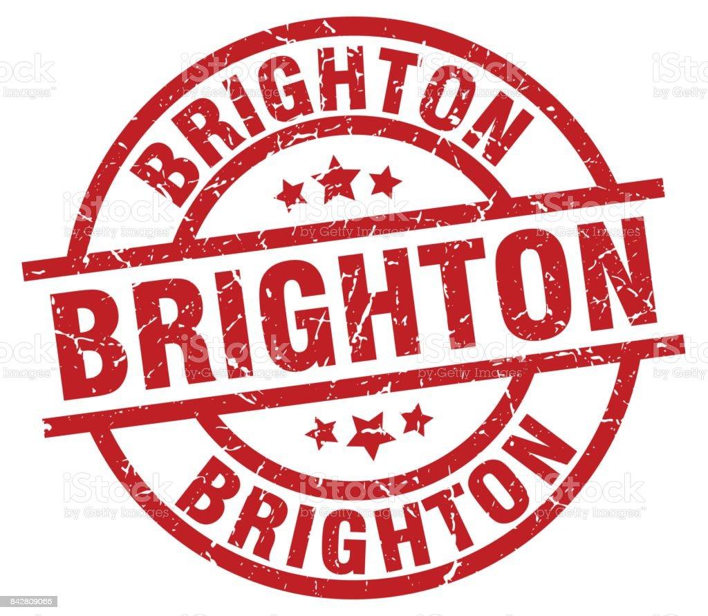 Brighton red round grunge stamp vector art illustration