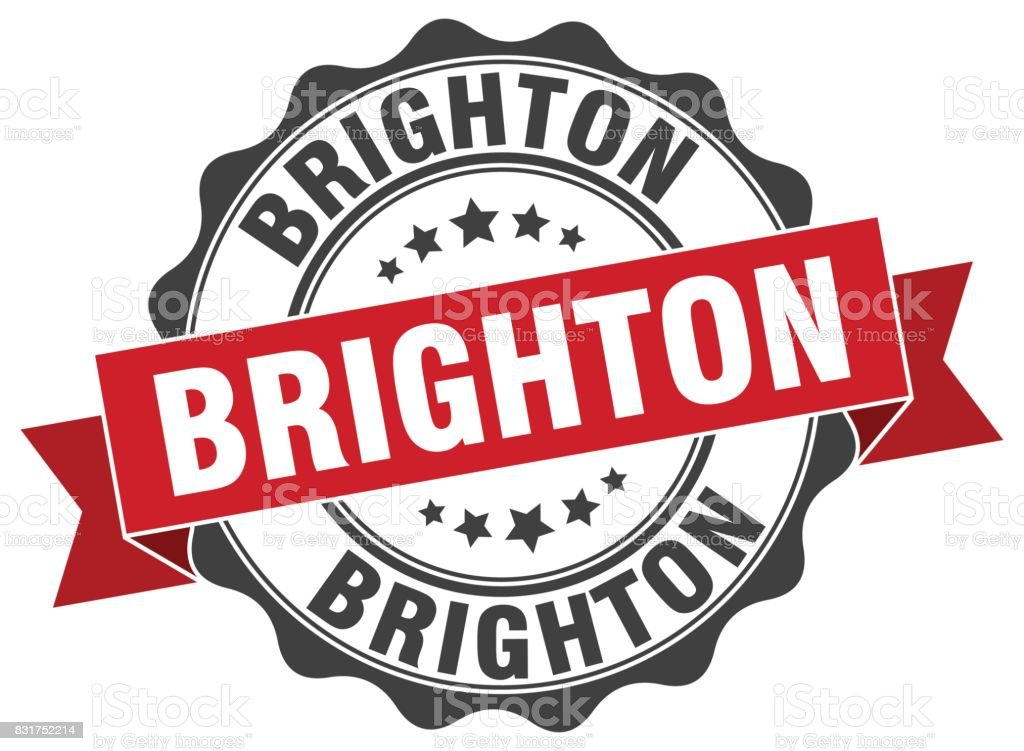 Brighton round ribbon seal vector art illustration