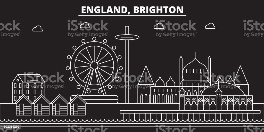 Brighton silhouette skyline. Great Britain - Brighton vector city, british linear architecture. Brighton travel illustration, outline landmarks. Great Britain flat icon, british line banner vector art illustration