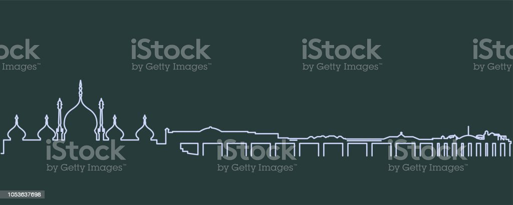 Brighton Single Line Skyline vector art illustration