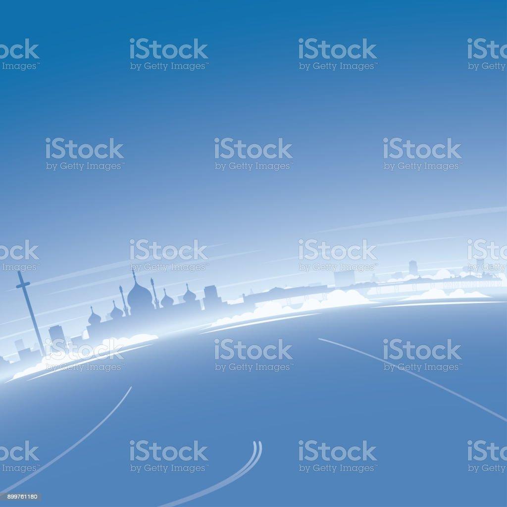 Brighton Skyline Aerial View vector art illustration