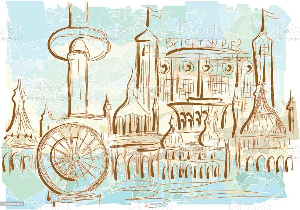 Brighton vector art illustration