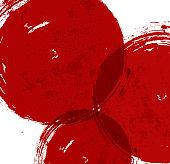 Brignt grunge background with big red splashes