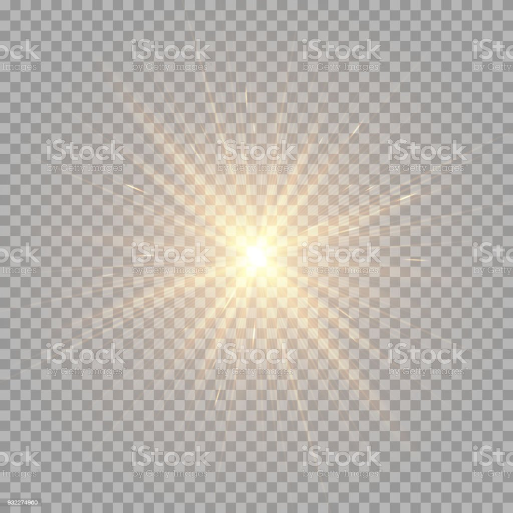 Brilliant golden rays vector art illustration