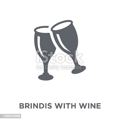 istock Brindis with wine glasses icon from Drinks collection. 1068056996