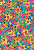 A stylised illustration of a pop-art floral meadow