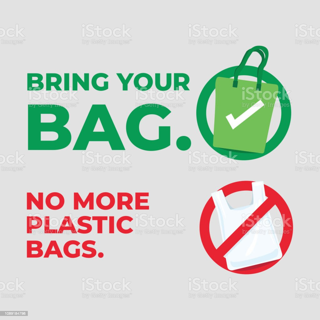 Bring your bag. No more plastic bags. Save our planet concept. vector art illustration