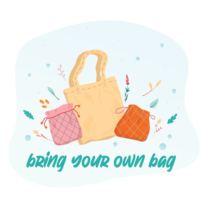 Bring your own bag concept. Fabric bag as a lifestyle element