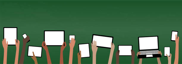 BYOD Bring Your own Device School Banner with Computers Blackboard BYOD Banner Concept Bring Your own Device children hands holding computer tablet and smartphone devices by Green Chalkboard with copy space EPS10 Grouped Objects digital native stock illustrations
