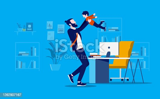 istock Bringing kids to office 1262907167